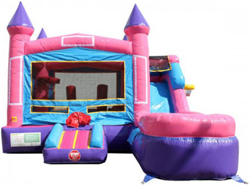 Compact Pretty Pink Bounce House with Slide Combo