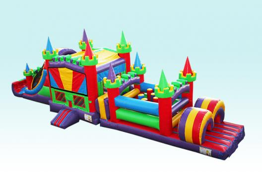 Mega Obstacle Course and Bounce House Slide Combo Side